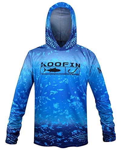 KOOFIN GEAR Performance Fishing Hoodie UPF 50 Sunblock Shirt Long Sleeve Quick-Dry Loose Fit Fade Pattern,Blue,Large