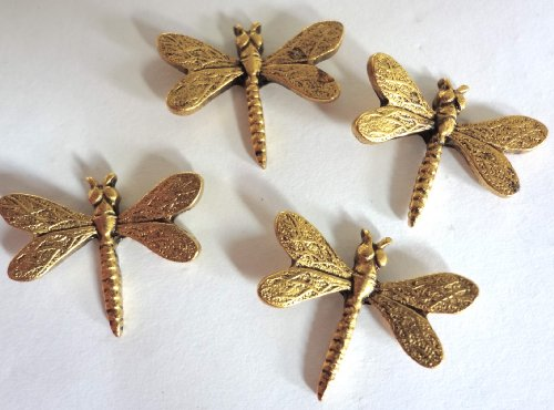 Dragonfly Decorative Metal Push Pins, Gold Finish, Handmade Solid Metal, 15 Piece Set, T-105AG