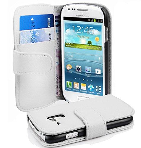 Cadorabo Hülle kompatibel mit Samsung Galaxy S3 Mini Hülle in Magnesium WEIß Handyhülle mit Kartenfach aus struktriertem Kunstleder