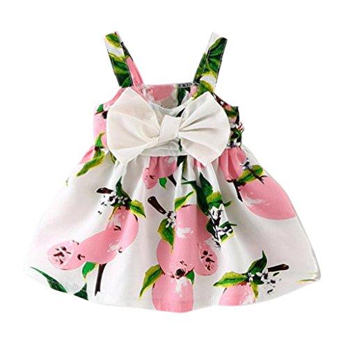 Amlaiworld Baby Mode bunt Zitrone Druck Tanktop Kleid Mädchen locker Bowknot blusen Dress Sommer Säugling Strand Baumwolle Früchte Kleider, 0-24 Monate (6 Monate, Rosa)