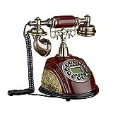 SXRDZ Teléfono con Cable Retro Antiguo teléfono Fijo Estilo Europeo Antiguo Teléfono de Madera Maciza para Oficina en casa