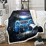 Gamer - Manta de sherpa exterior con diseño de nave espacial para niños y niñas, manta de felpa para juegos de galaxia, juego azul, manta de palanca de mando para sofá cama, doble de 156 x 188 cm