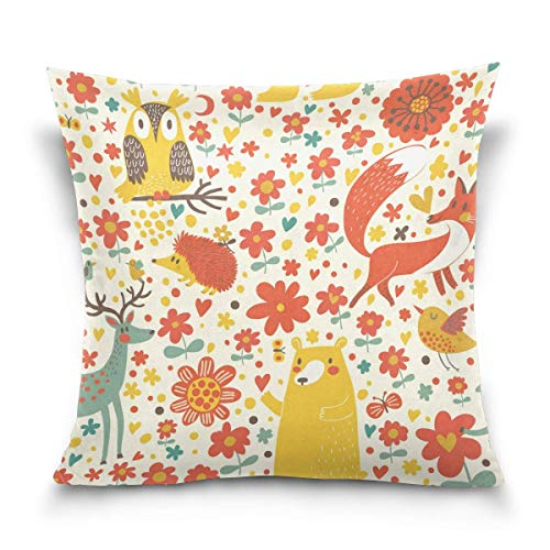 lucies Throw Pillow Case Decorative Cushion Cover Square Pillowcase, Autumn Forest Animals Bear Fox Deer Hedgehog Owl Bird Sofa Bed Pillow Case Cover(18x18inch) Twin Sides