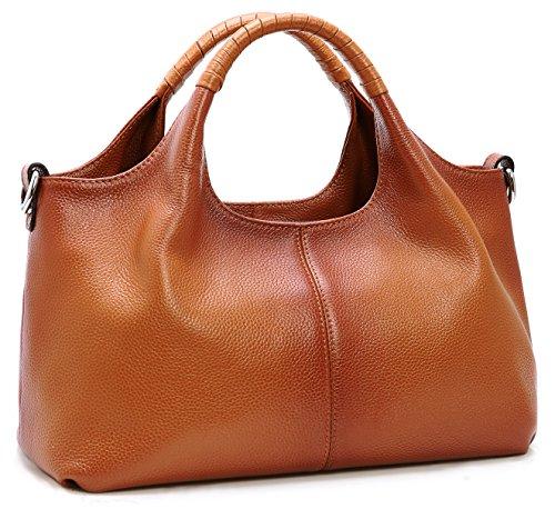 Iswee Womens Genuine Leather Handbags Tote Bag Shoulder Bag Top Handle Satchel Designer Ladies Purse Hobo Crossbody Bags (Sorrel)
