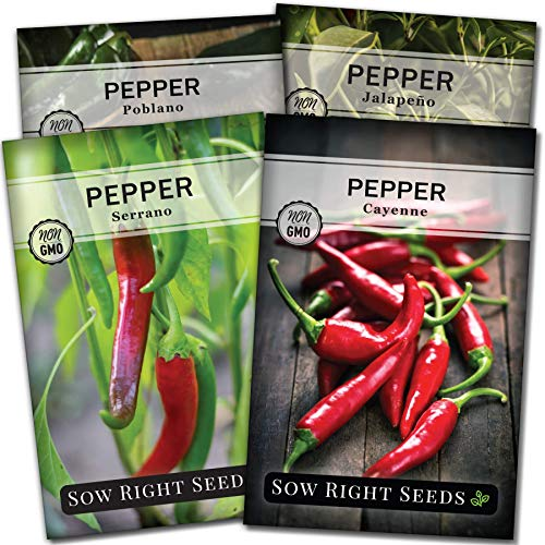Sow Right Seeds - Hot Pepper Seed Collection for Planting - Individual Packets of Jalapeno, Poblano, Cayenne, and Serrano, Non-GMO Heirloom Seeds to Plant an Outdoor Home Vegetable Garden