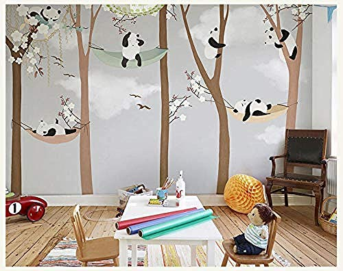 Leuke panda Trees 3D Cartoon Murals Wallpaper voor baby kinderkamer Room 3D Wall Fotobehang 3D Wall Paper 3D Wall Sticker 450cmx300cm 450 x 300 cm.