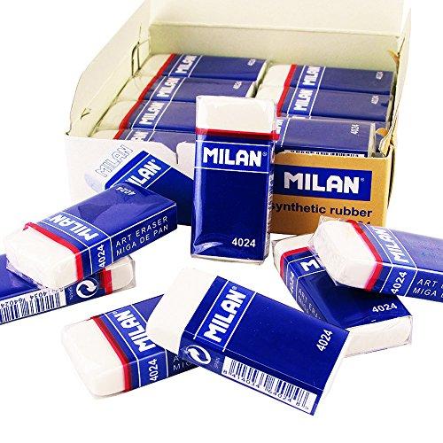 Gumka Milan z kauczuku syntetycznego w kartonowej oslonce, biala 24 sztuki
