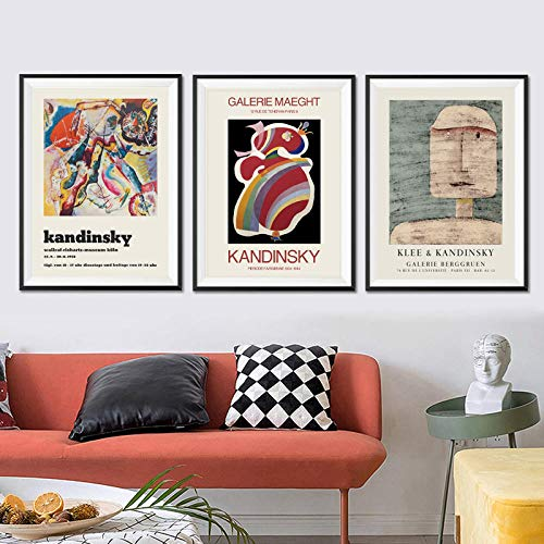 Wassily Kandinsky Canvas Print Painting Vintage Poster and Prints Abstract Canvas Wall Art For Living Room Home Wall Decor Pictures 40 × 60cm × 3 Frameless
