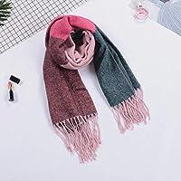 冬のタータンスカーフファッション秋の格子縞の色のスカーフ防風暖かい綿のショールスカーフソフトスカーフ女性と男性のためのタッセル付きカジュアルスカーフ-D
