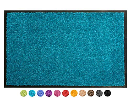 Primaflor - Ideen in Textil Tapis d'entrée Clean - Tapis Antidérapant & Très Absorbant | Paillasson d'entrée Intérieur et Extérieur Anti-Poussière - Turquoise 40x60cm