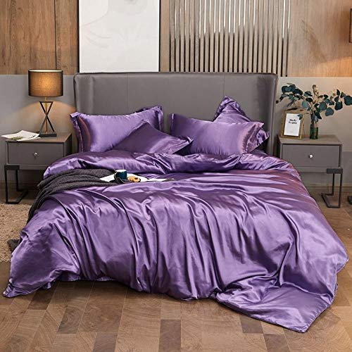 flanellete duvet cover-Naked sleep double-sided ice silk four-piece solid color simulation silk screen single double 1.8 meters down set-V_1.8 m bed four pieces