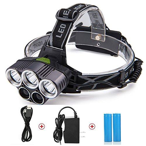 LED Head Lamp, TKSTAR linterna frontal LED Cabeza lámpara 5000 Lux lámpara LED Headlights frente con 5 luces Luz 6 Modos faros de escalada camping senderismo cueva Investigación Pesca Ciclismo l014