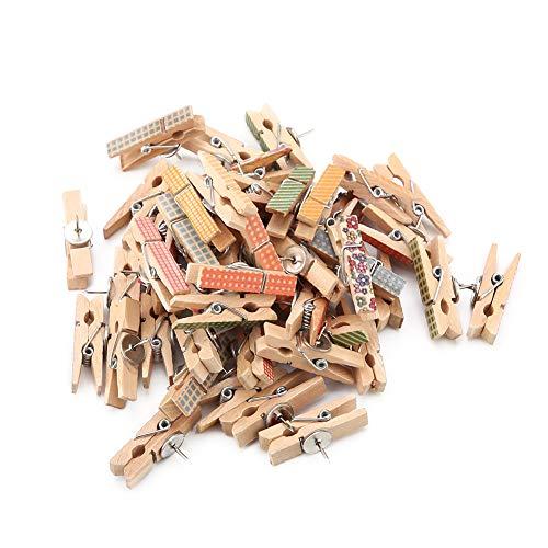 50 stuks push-pinclips met houten klemmen, pushpins punaises, punaises, voor kurk boards, kunstwerken, notities, kantoren en woningen