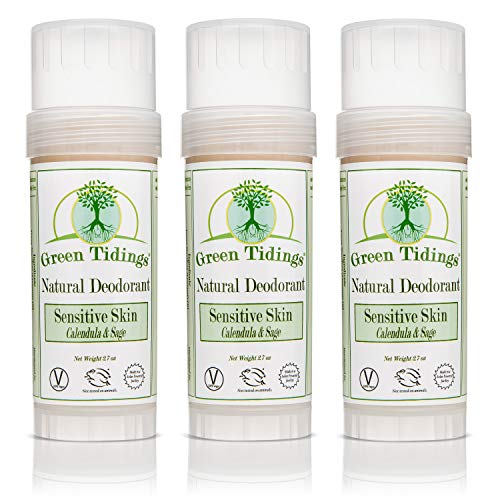 Green Tidings Natural SENSITIVE SKIN Deodorant, Calendula & Sage (2.7 Ounce (3 PACK))