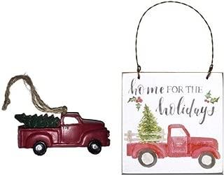 Little Red Farm Truck Christmas Ornaments Bundle Set, Vintage Farmhouse Primitive Decor