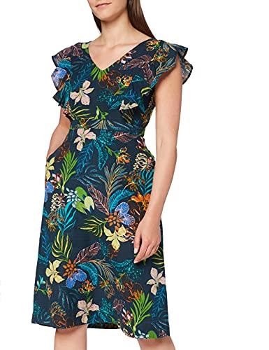 Marchio Amazon - find. Vestito Midi A-Line di Lino Donna, Multicolore (stampa tropicale), 42, Label: S