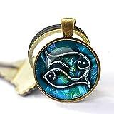 Pisces Llavero, Piscis, Colgante de Piscis, Llavero, Colgante, Constellation Jewelry Arte Regalo para Hombres para Mujeres