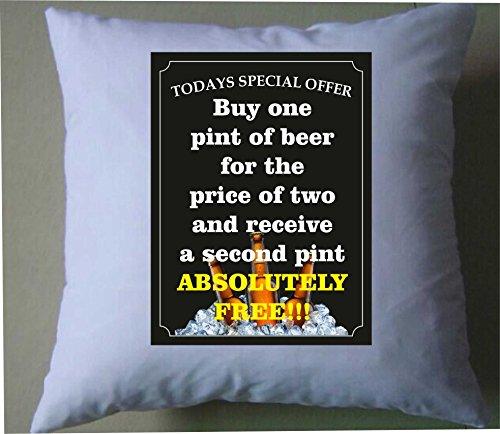 Vandaag speciale aanbieding koop een pint bier voor de prijs van twee en ontvang een tweede pint absoluut gratis retro shabby chic kussensloop