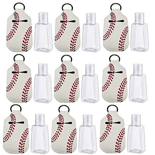 Kleine Reiseflaschenset Behälter mit Schlüsselanhänger-Kappe, drückbare Flasche Reisebehälter Leere Flasche für Schule, Outdoor-Aktivitäten, Baseball 10 Stück