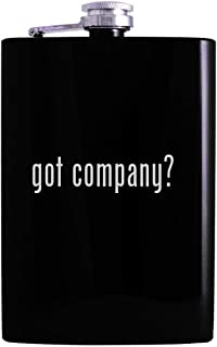 got company? - 8oz Hip Alcohol Drinking Flask, Black
