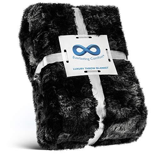 Everlasting Comfort Manta de piel sintética de lujo, ultra suave y esponjosa, manta de felpa para sofá cama y sala de estar, otoño invierno y primavera, 50 x 65 cm (tamaño completo), color negro