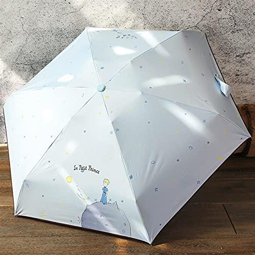JKLO Dibujos Animados Paraguas Lluvia Mujeres Plegables Paraguas Hembra Soleado sombrilla Encantadora Paraguas Mini Bolsillo Paraguas 604 (Color : White)
