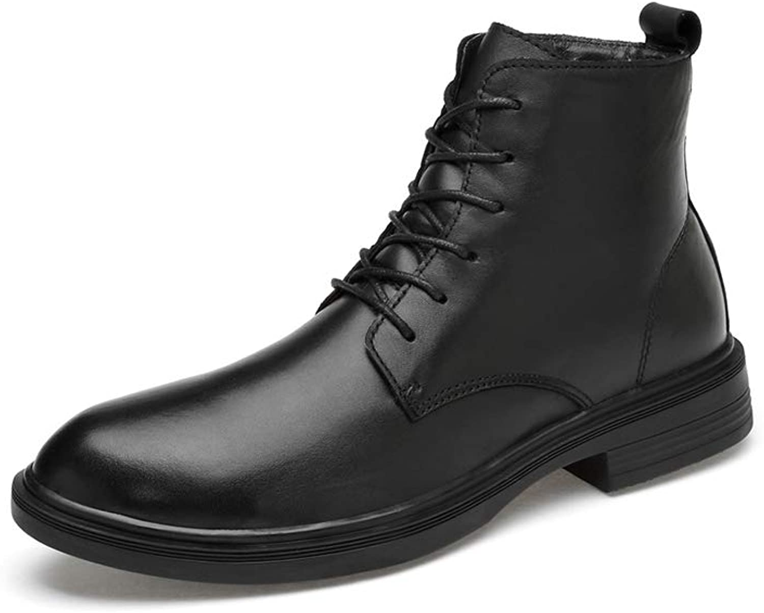 Men's Retro British style Martin boots Plus velvet Non-slip Breathable High help Single shoes