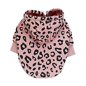 Sweat à Capuche en Molleton pour Chien, vêtements pour Chien Mode imprimé léopard vêtements à Capuche Doux Sweats à Capuche Chauds Manteau Pull Chemise
