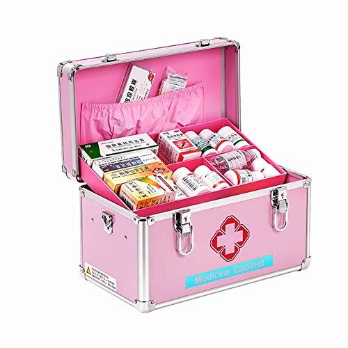 CS-JJ Draagbaar/nood/overleving/medisch kast/pakket EHBO-kit Auto/huishoudelijke medicijnopbergdoos Medicine Box/Container, Roze, 12inch EHBO-navulset