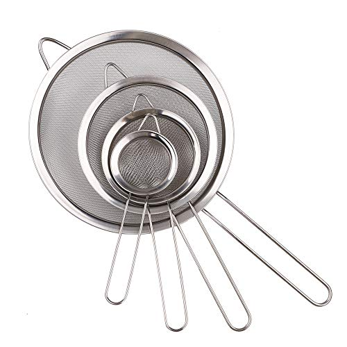 """4 Pieces Stainless Steel Fine Mesh Strainers,Flour Sieve for Straining Quinoa,Spaghetti,Yogurt,Tea and More, 3"""", 4"""", 5.5"""" and 8"""""""