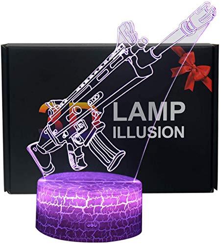 3D Lámpara de Escritorio NHSUNRAY 7 colores LED Touch lámpara de mesa con control remoto para niños cumpleaños regalo de San Valentín de Navidad (Asalto)