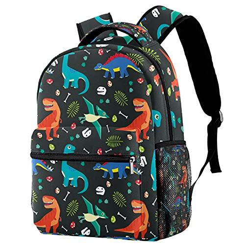 Mochila para niños con diseño de dinosaurio, camuflaje militar, con bolsillo lateral de malla para jardín de infancia, monedero de dibujos animados 29,4 x 20 x 40 cm, Color 11, medium