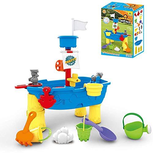 KELEQI Barco Pirata Tabla de Agua - Splash vía marítima de la Tabla de Agua 2-en-1 con Agua y Arena para los niños, para la Edad 3+