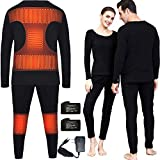 Heated Thermal Underwear Top + Heated Pant for Women Men with 4000mAh Battery (Black, XXL)