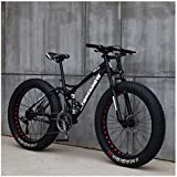 CDFC Fat Tire Mountain Bike, 26 inch Mountain Bike Bicycle with disc Brakes, Frames from Carbon Steel, MTB for Men and Women,7 Speed