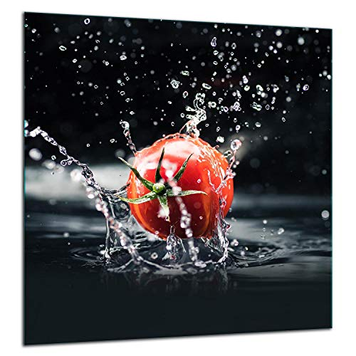 TMK Protection anti-éclaboussures en verre trempé pour crédence de cuisine - 60 x 65 cm - Verre décoratif avec ruban adhésif autocollant - Paroi arrière en verre de cuisine - Tomate noire