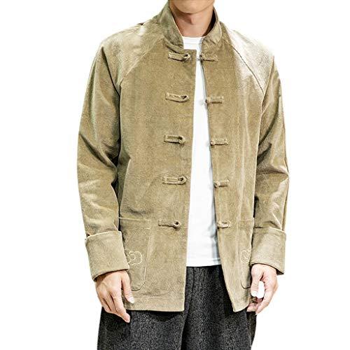 ZHANSANFM Cord Hemd Herren Vintage Attraktive Einfarbig Freizeithemd Bequem Langarmshirt Outwear Button Down Shirts Herbstmode Hemden Lässige Cordhemd Freizeitbluse (2XL, Gelb)