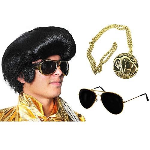 Juego de medallón, gafas y peluca de estilo rockero con medallón, gafas y kit – Famoso estilo cantante de los años 60 con gafas de estilo aviador + accesorios para disfraz de medallón