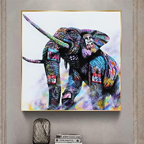 Animal Graffiti elefante lienzo pintura en la pared decoración de la habitación del niño póster imprime cuadros de pared para sala de estar Cuadros para el hogar 50x50 CM (sin marco)