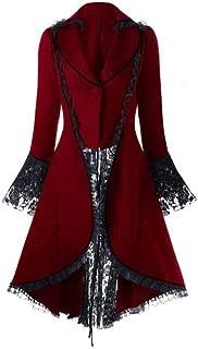 jin&Co Women Long Sleeve High Waist Vintage Coat Stitching Lace Long Jacket Tuxedo Outercoat