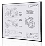 Ducati 1098 R Blueprint Artwork-Laser Marked & Personalized-The Perfect Ducati Gifts