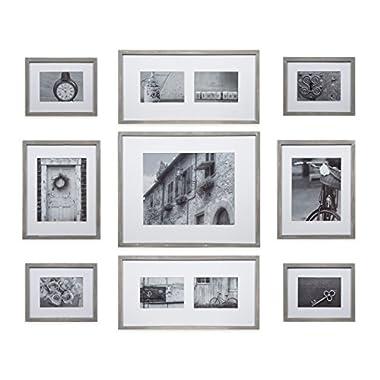 Gallery Perfect Decorative Art Prints & Hanging Template 9 Piece Greywash Wood Photo Frame Wall Kit, Grey