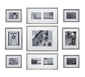 Gallery Perfect 17FW2317 Photo Kit with Decorative Art Prints & Hanging Template Gallery Wall Frame Set 9 Piece Grey