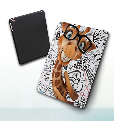 Funda para iPad 9,7 Pulgadas, 2018/2017 Modelo, 6ª / 5ª generación,A los niños Les encantan los Animales de Dibujos Animados Jirafa de Lujo con Gafas, Smart Leather Stand Cover with Auto Wake/Sleep
