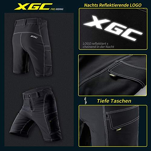 XGC Herren Radhose Radlerhose Fahrradhose,Atmungsaktiv Sports MTB Kurz Hose für Männer (Black, S) - 3
