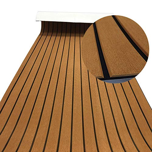 ZXAZX Non-Skid Self-Adhesive Bevel Edge EVA Foam Teak Decking Sheet Suit for Marine Boat Yacht Floor Carpet Protect Accessories (Brown)