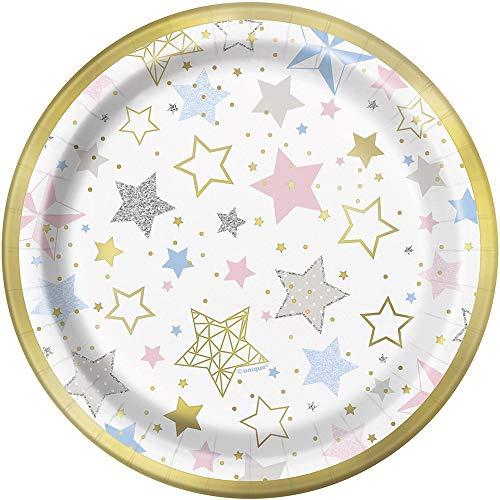 Unique Party - Platos de Papel - 18 cm - Diseño de Centelleo Centelleo Pequeño Estrella - Paquete de 8 (72414)
