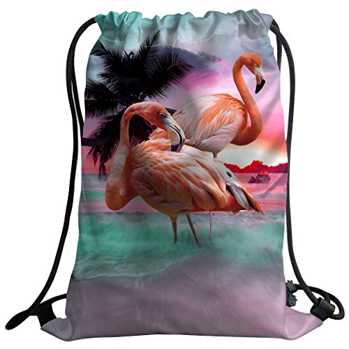 Coutume violetpos Mode Unisexe Sac de gym Sac à dos Sac de sport Gym Bag Belle Rose Flamingo Plage coucher de soleil