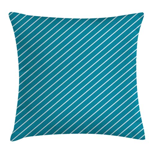 MZZhuBao Funda de cojín geométrica, patrón de rayas diagonal, crucero mediterráneo, viajes, aventura, funda de almohada decorativa cuadrada, 45,7 x 45,7 cm, azul turquesa