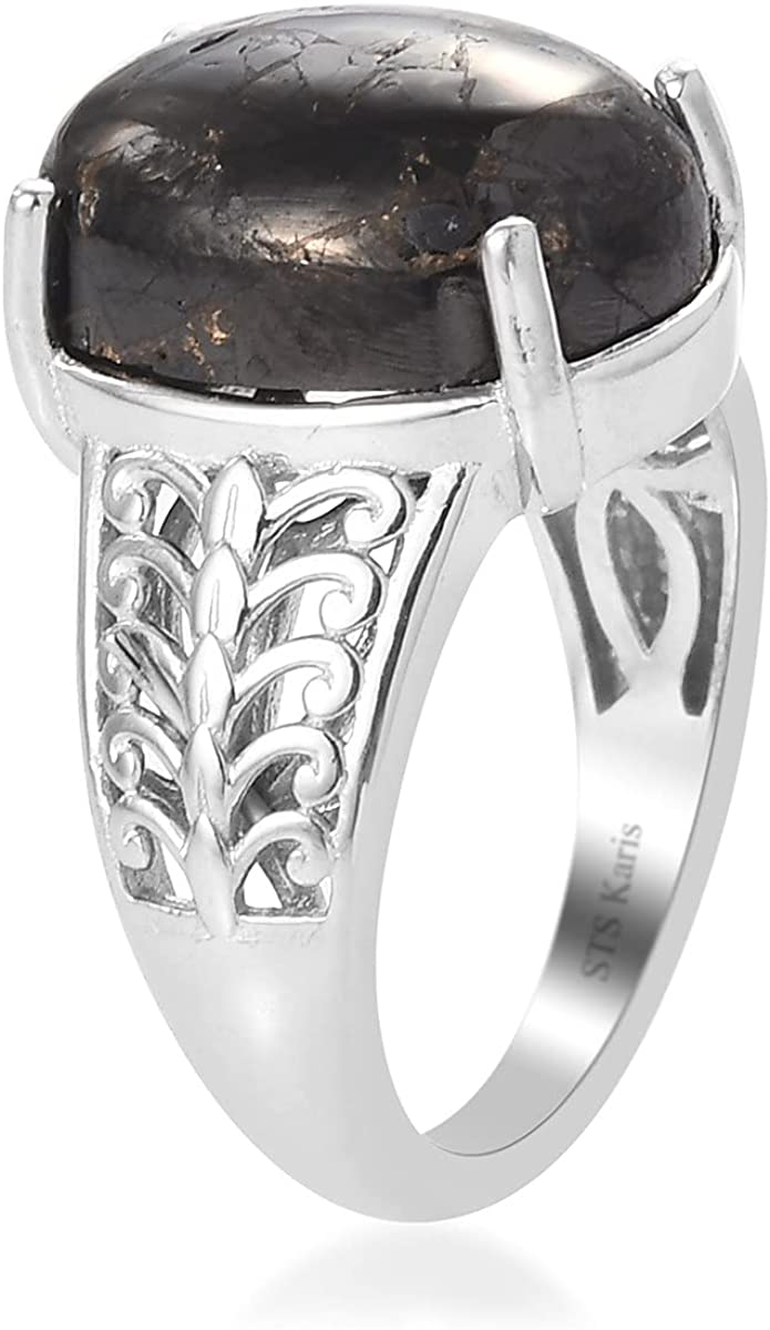 Shop LC Karis Platinum Oval Pain Relief Black Sunnite Solitaire Ring Jewelry for Her